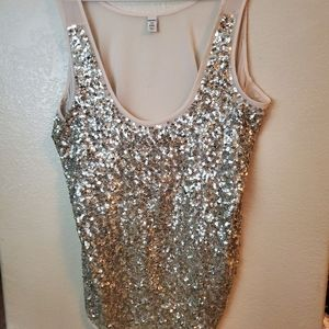 Old Navy Sleeveless Sequin Beaded Gold Top